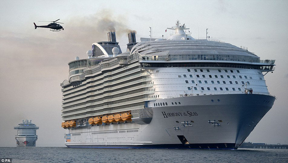 The freshly completed world's largest cruise ship –  HARMONY OF THE SEAS