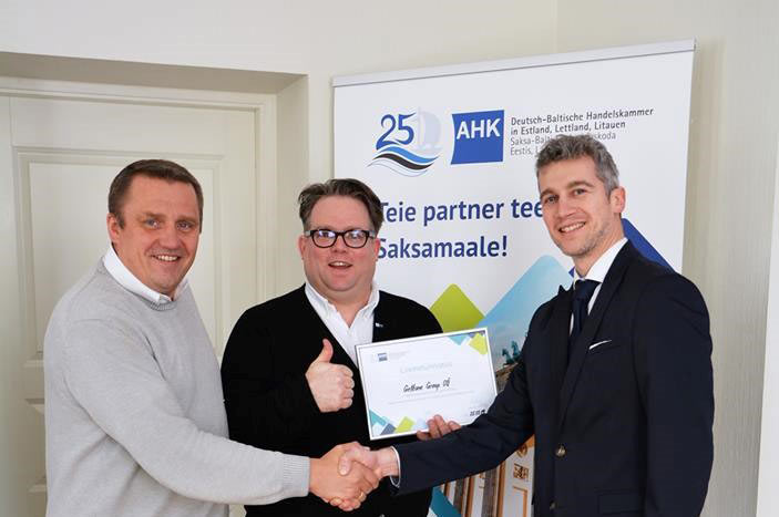 From left: Tarmo Mutso, Head of the Estonian Office, Florian Schröder, CEO of AHK, and Georgi Karhu, CCO of Gettone Group